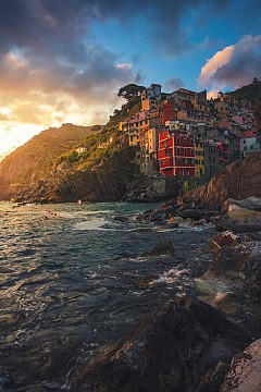 Sunset at colorful italian village