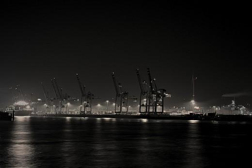 Hamburg's Harbour at night