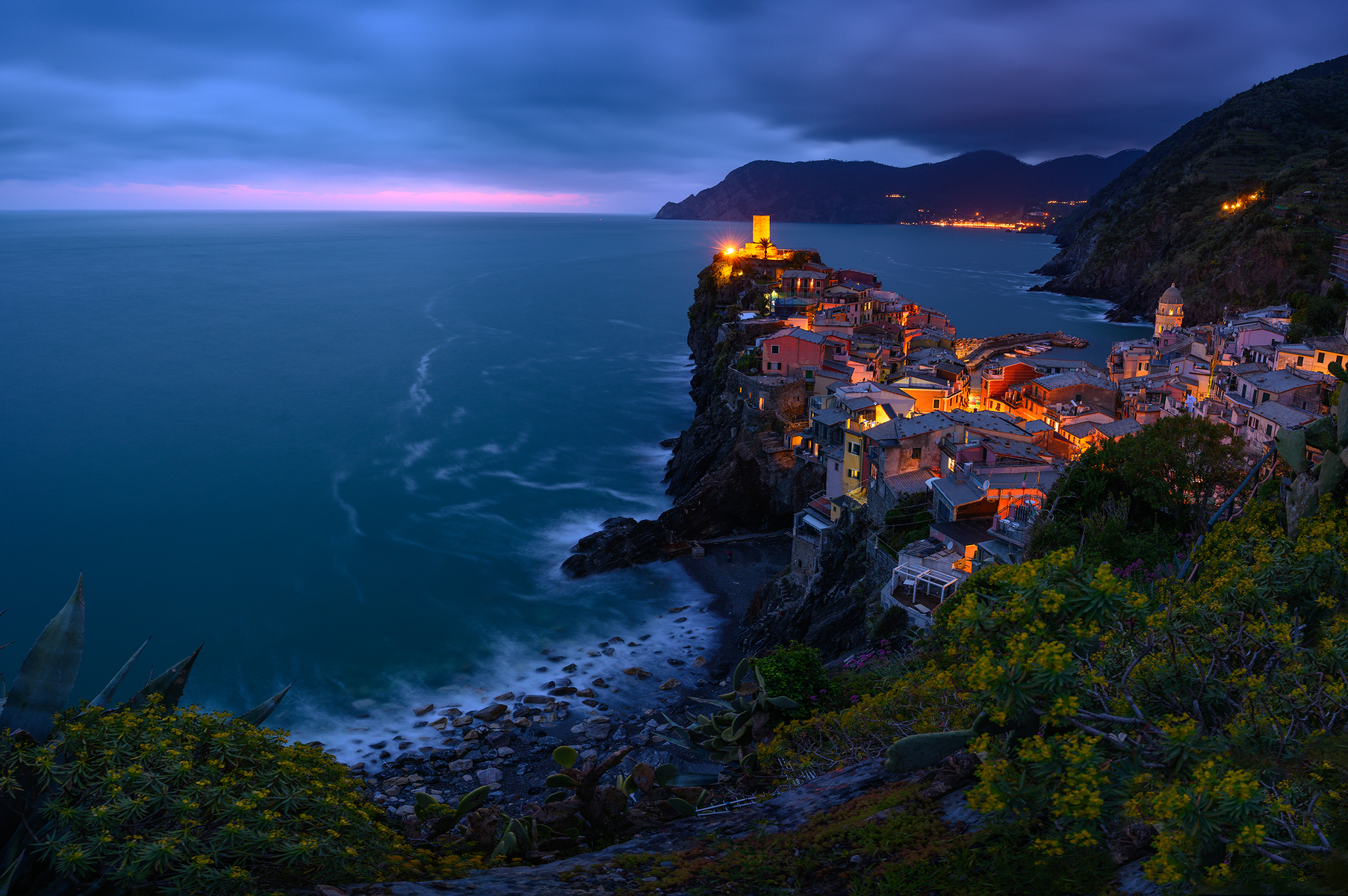 Blue hour in northwest Italy